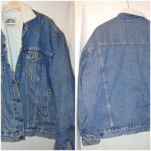 Levi's Vintage Denim Sherpa Trucker Jacket Orange Tab 527